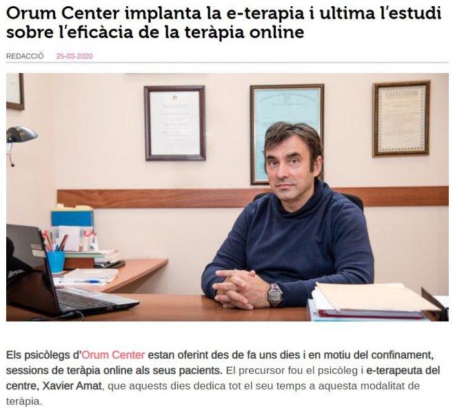 Orum Center implanta la e-teràpia i ultima l'estudi sobre l'eficàcia de la teràpia online